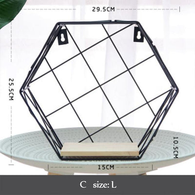 Beveld - Wood & Iron Hexagon Art Shelf
