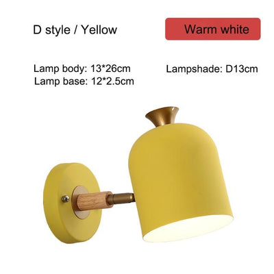 Nordic Creative Wall Bedside Lamp yellow type D