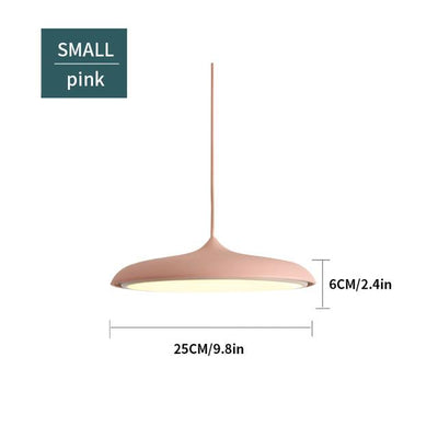 Scandinavian Flattened Hanging Light pink small