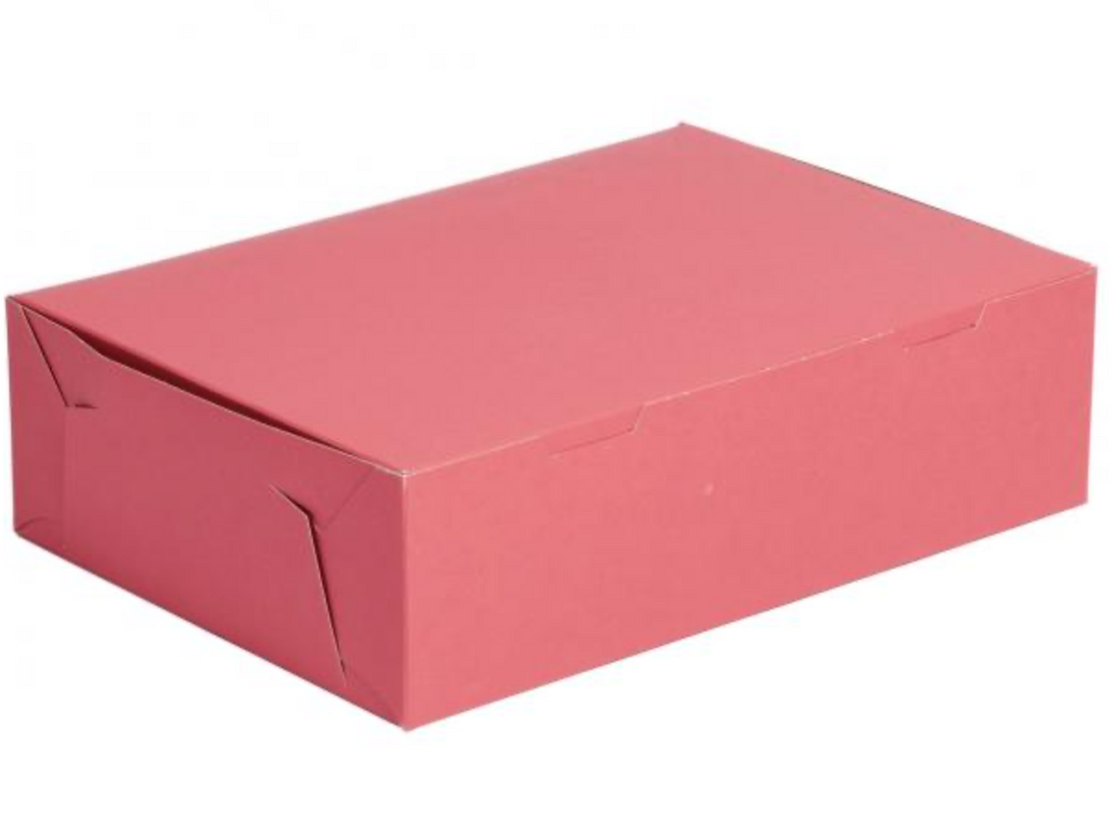 Pink Box Cake Box 14 x 10 x 4 Inch  - fits 12 Cupcakes or 24 mini cupcakes