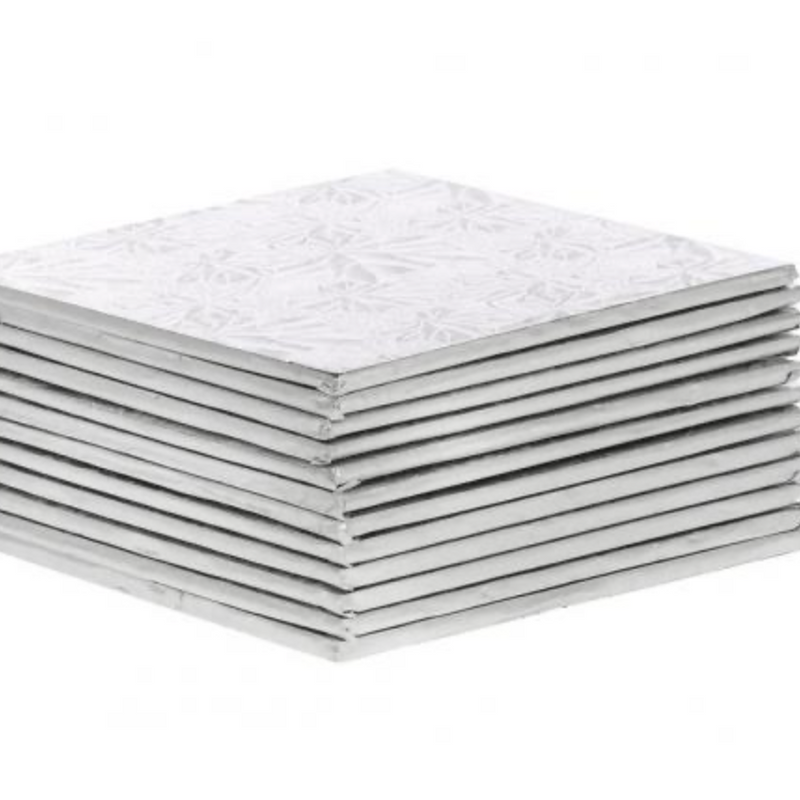 "Silver Square 1/4 "" thick Cake Boards - Bulk pack of 12"