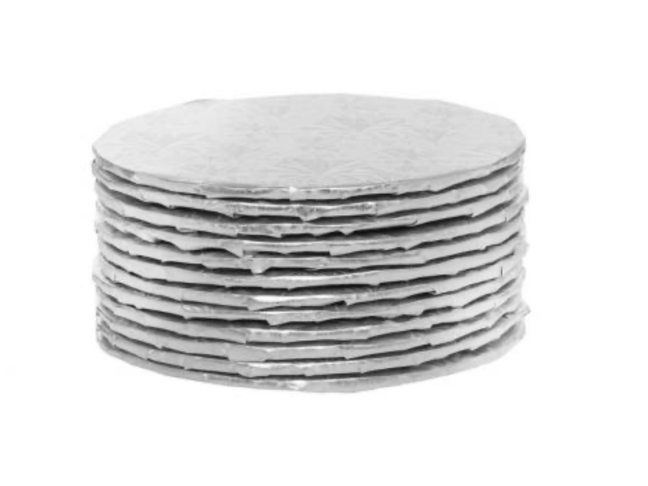 "Silver Round 1/4 "" thick Cake Boards - Bulk pack of 12"