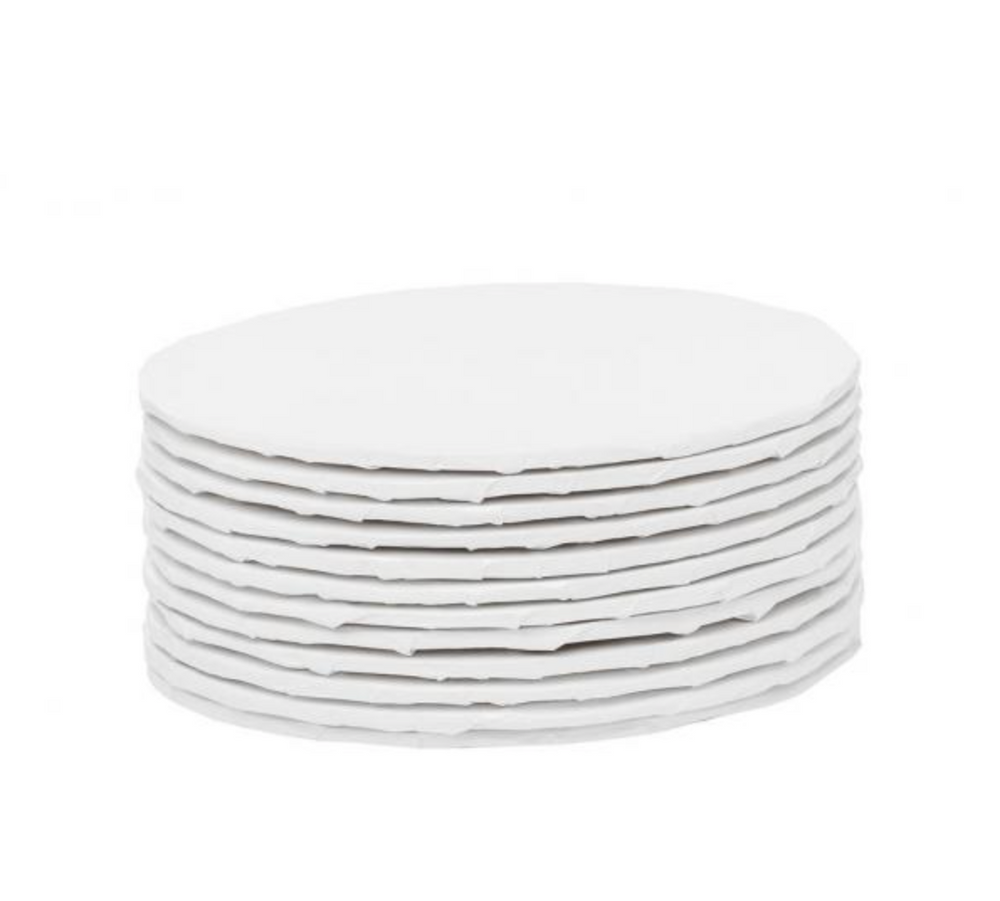 "White Round 1/4 "" thick Cake Boards - bulk pack of 12"