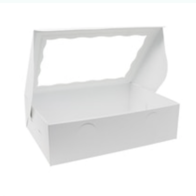 White window Box 14 x 10 x 4 Inch  - fits 12 Cupcakes or 24 mini cupcakes