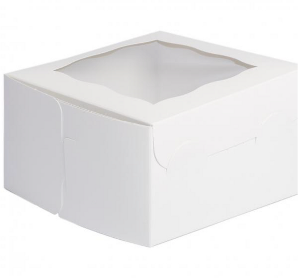 White window Box 7 x 7 x 4 Inch  - fits 4 Cupcakes