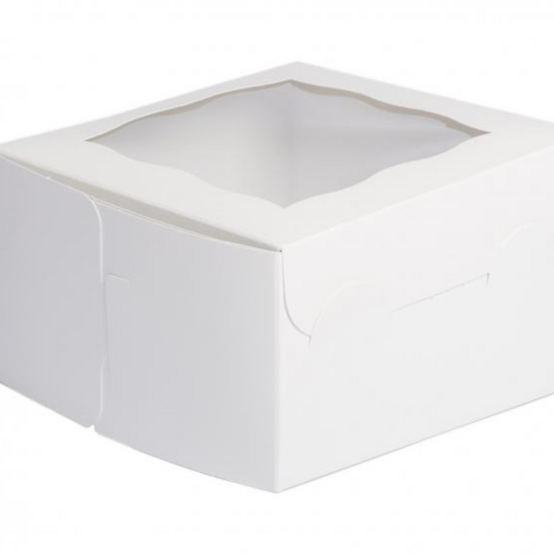 white window Box 10 x 10 x 4 Inch - fits 6 Cupcakes or 12 mini cupcakes