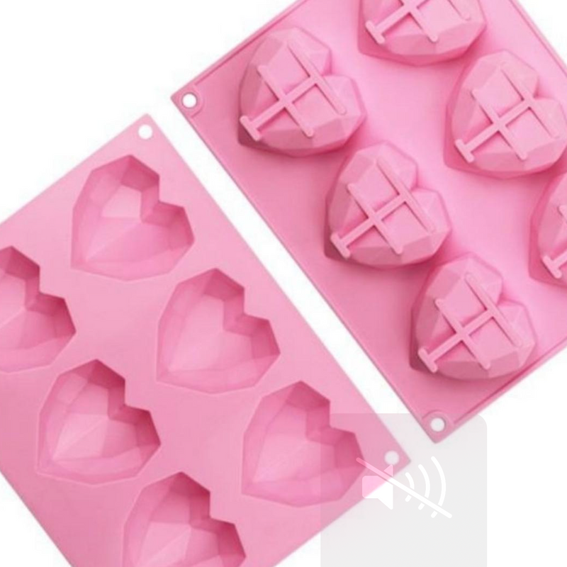 Geometric 3D heart shaped silicone mold