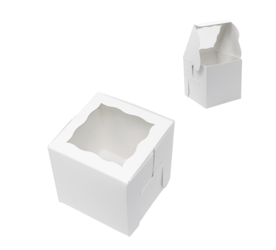White window Box 4 x 4 x 4 Inch  - fits 1 Cupcake