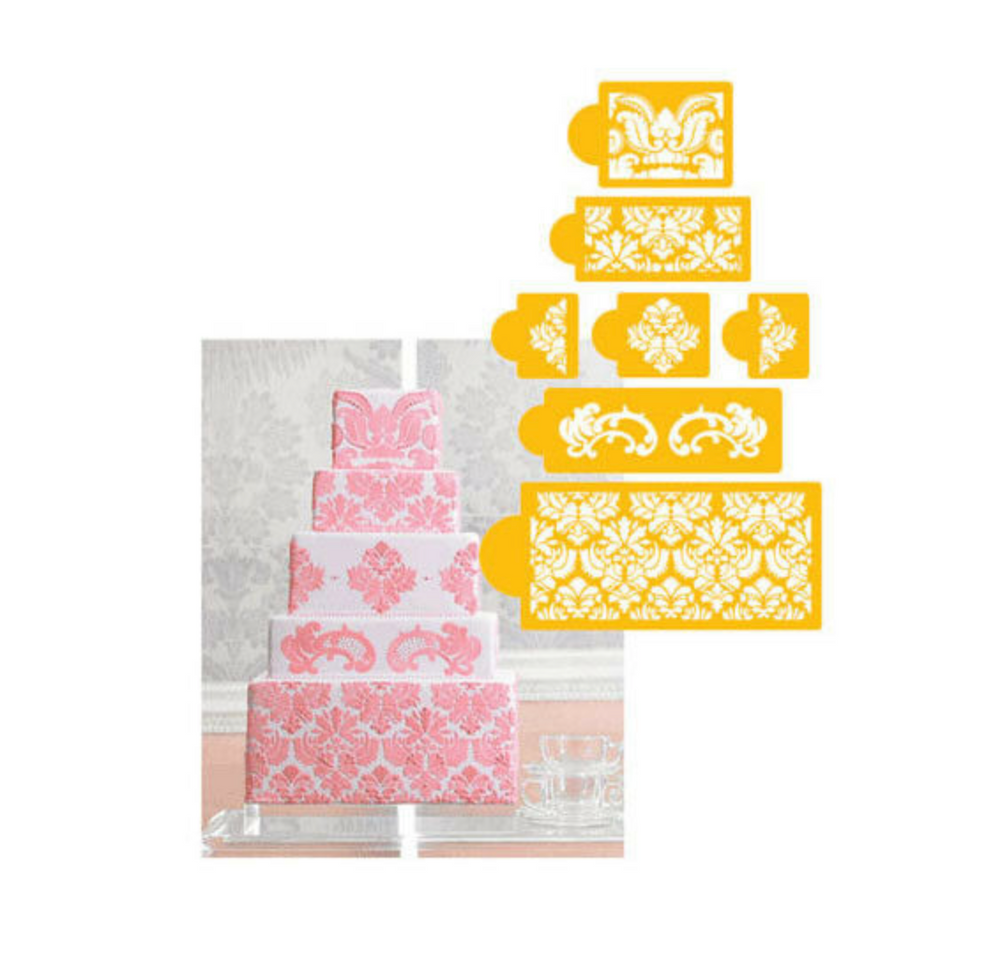 Damask Cake Five Tier Stencil Set