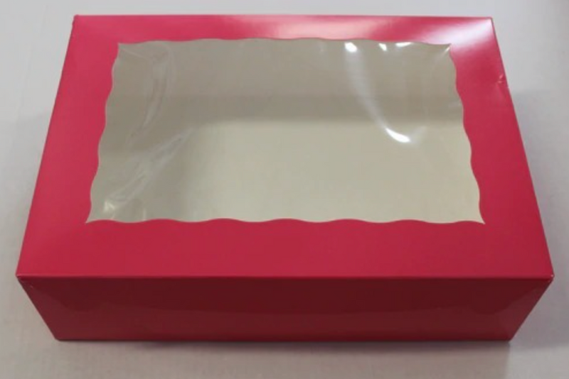 Pink window Box 14 x 10 x 4 Inch  - fits 12 Cupcakes or 24 mini cupcakes