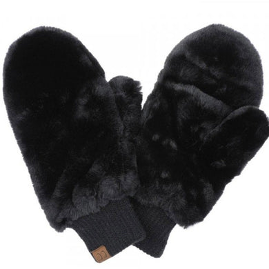 C.C faux fur mittens with shepherd lining