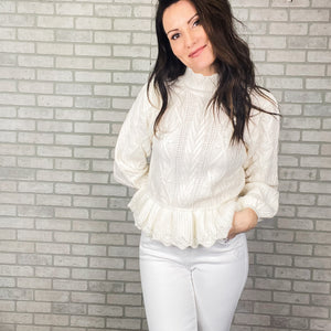 Puff sleeve cable peplum sweater