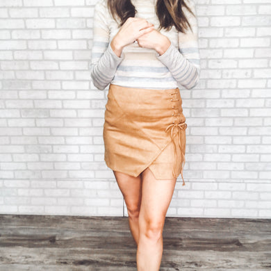 Suede high waist mini skirt
