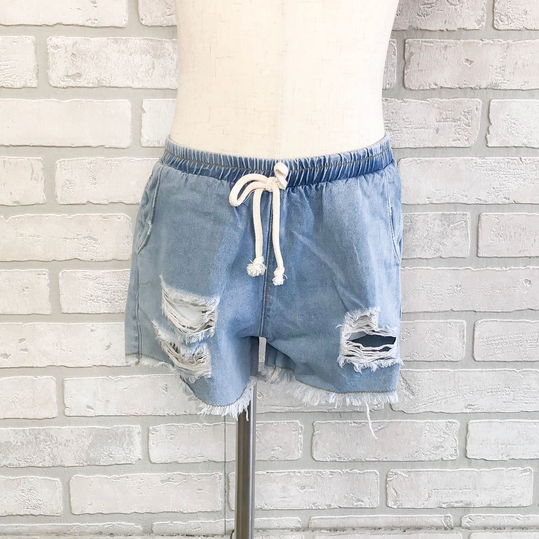 GIRLS Bleached drawstring denim shorts