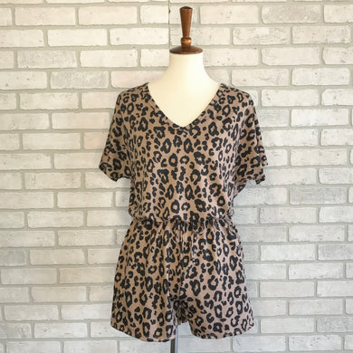 SAMPLE Leopard knit romper with pockets