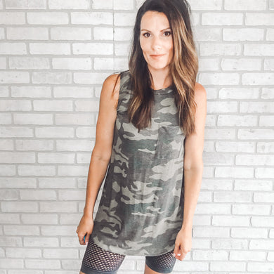 Camo print sleeveless tunic