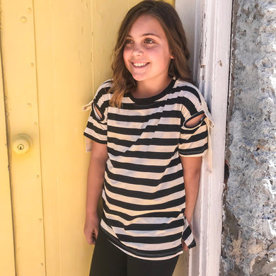 GIRLS Striped top with shoulder detail