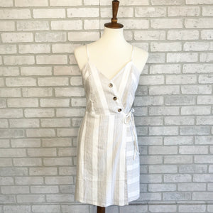 Stripe wrap dress with large buttons