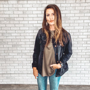 Loose fit distressed denim jacket