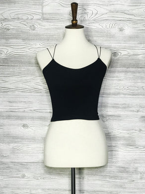 Seamless ribbed cropped cami with double strap back
