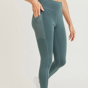 High waist leggings with mesh pocket overlay *3 colors