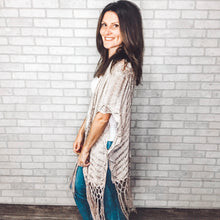 Load image into Gallery viewer, Crochet fringe sweater cardigan
