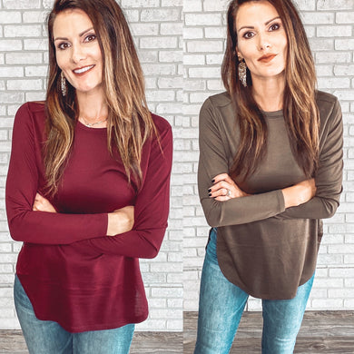 Long sleeve basic side slit tunic *3 colors
