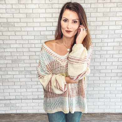 Tunic long sleeve striped sweater