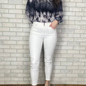 High Rise Double button ankle skinny jeans
