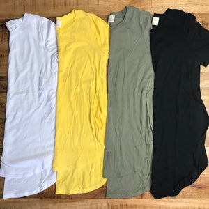 Basic tunic tee with split sides *4 COLORS