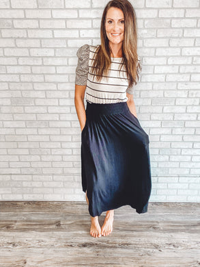 Smocked waist knit midi skirt