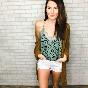 Leopard print tank with lace