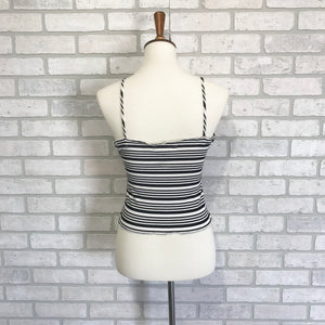 Striped tank with faux buttons