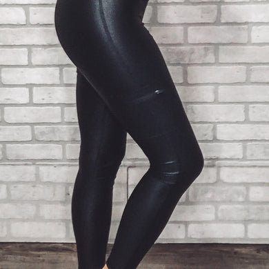Faux leather cargo leggings with foil