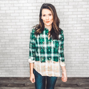 Ombré bleached plaid shirt