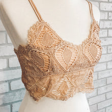 Load image into Gallery viewer, Crochet lace smocked back bralette