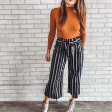 Load image into Gallery viewer, Striped linen ankle pant with elastic and tie waist