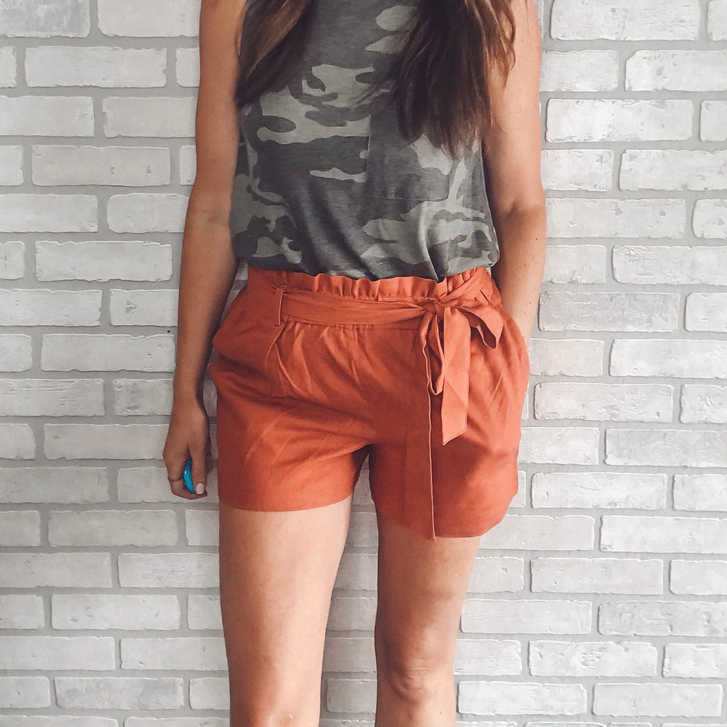Linen paperbag shorts *2 colors