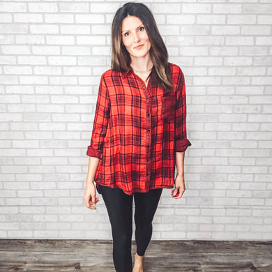 Checker mix plaid shirt