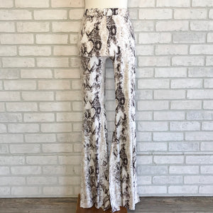 Snake print bell bottom pants