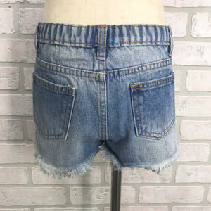 GIRLS distressed denim shorts with sequin pocket detail