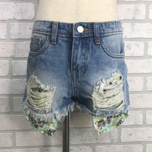 Load image into Gallery viewer, GIRLS distressed denim shorts with sequin pocket detail