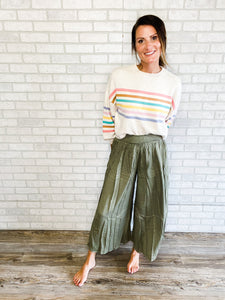 Palazzo pants with smocked waist and slit front