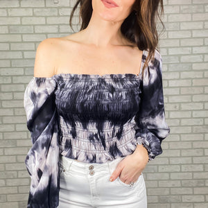 Tie Dye smocked long sleeve