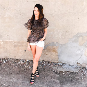 Lurex leopard print smocked top