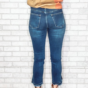 Uneven split hem straight jeans