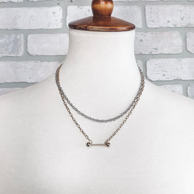 Two tone Chain and bar necklace