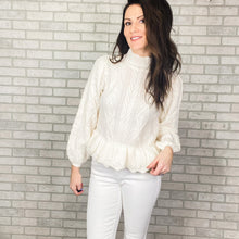 Load image into Gallery viewer, Puff sleeve cable peplum sweater