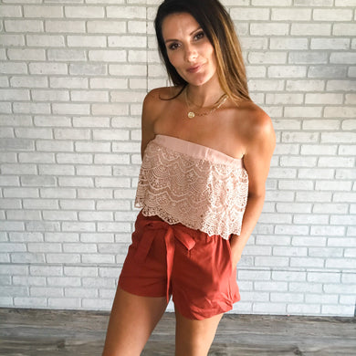 Crochet flounce tube top