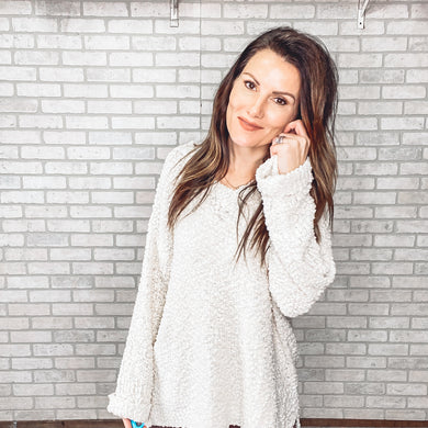 Popcorn bell sleeve tunic sweater